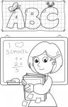 Nauczycielka przy tablicy uczy liter