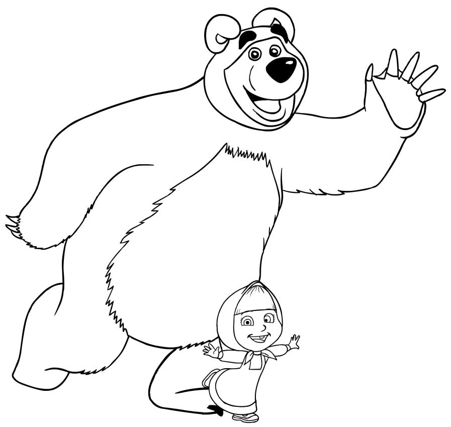 Kolorowanka masza i nied wied kolorowanka for Disegno orso per bambini